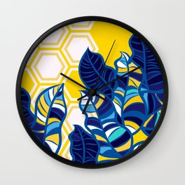 Geo Pop Foliage on Yellow & White Wall Clock