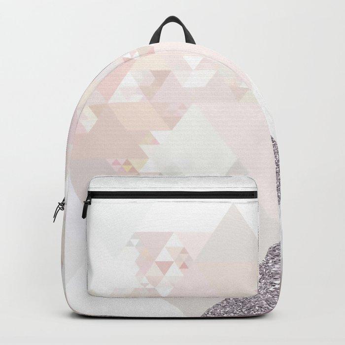 Triangles in glittering Rose quartz - pink glitter triangle pattern Backpack