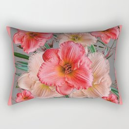 CORAL COLORED  PINK & CREAM DAYLILIES Rectangular Pillow