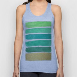 Gold and Green Stripes Unisex Tank Top