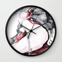 Fetish, Hot bondage, Japanese women tied up with rope, Japanese woman wears kimono, Shibari bondage Wall Clock
