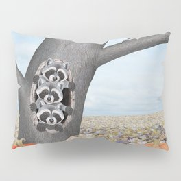red bellied woodpeckers, heirloom pumpkins, and raccoons in a tree Pillow Sham