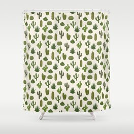 Cacti parade Shower Curtain