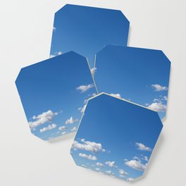 blue sky and clouds - blue sky with clouds Coaster