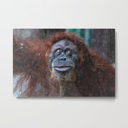 Digital illustration of an orangutan Metal Print