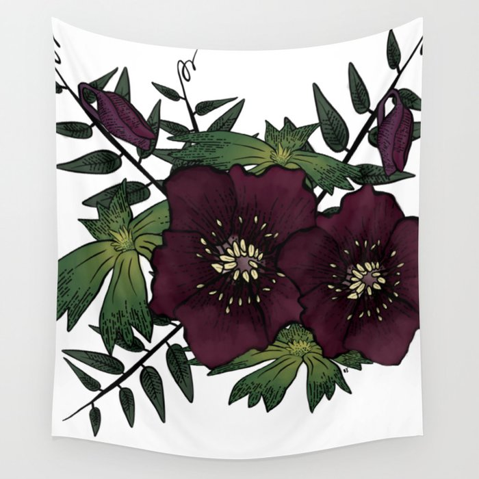 Winter Hellebore Blossoms Wall Tapestry