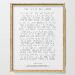 The Man In The Arena by Theodore Roosevelt 2 #minimalism Serving Tray