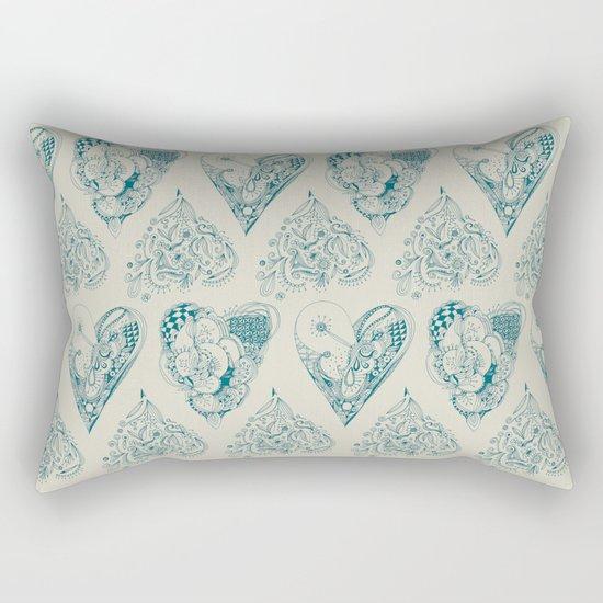 Blue and beige tangled heart pattern Rectangular Pillow