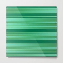 Green Ombre Stripes Metal Print