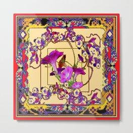 Red Decorative  Blue Purple Vining Flowers Patterns  Art Metal Print