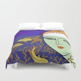 """Art Deco Illustration """"Goldfish Bowl"""" Duvet Cover"""