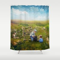 sister Shower Curtains featuring Brother, Sister by Ginger Kelly Studio