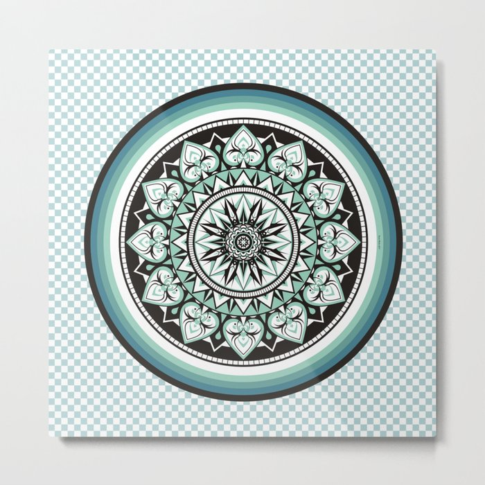 Mandala Design Sea Blue Aqua Theme Metal Print
