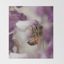 Worker Bee on Mexican Sage Throw Blanket