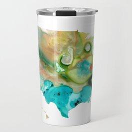 Aqua, Yellow and Green Abstract Art - USA Map 31 - Sharon Cummings Travel Mug
