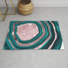 Agate Teal Rose Gold Blush #1 #abstract #shiny #decor #art #society6 Rug