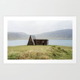 House in front of the lake Art Print