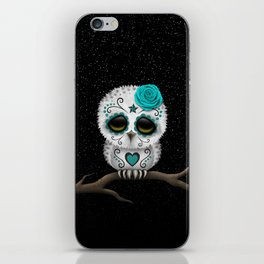 Adorable Teal Blue Day of the Dead Sugar Skull Owl iPhone Skin
