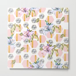 Marble hexagon with tropical flowers Metal Print
