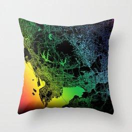 Shenzhen, China, City, Map, Rainbow, Map, Art, Print Throw Pillow