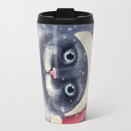 Christmas cat with a mustache Travel Mug