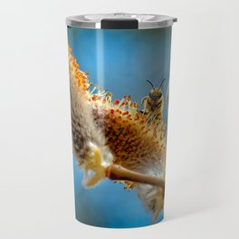 Small Bee on a Pussy Willow Travel Mug