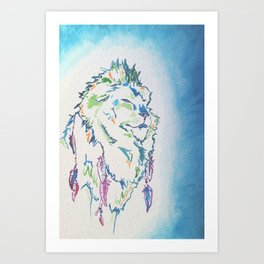 Shaman Lion with Feathers in his hair ~ watercolor Art Print