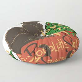 Joyeux Noel Le Chat Noir With Tree And Gifts Floor Pillow