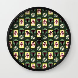 Boba Fett Mandalorian Symbols on Green Wall Clock