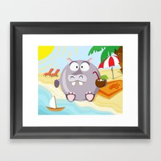 Hippo on the beach July month series Framed Art Print