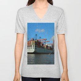 Cosco Cotainer Ship Unisex V-Neck