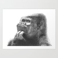 gorilla Art Prints featuring Gorilla by Nasir Nadzir