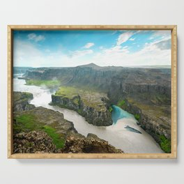 Dettifoss Waterfall Aerial View Landscape Iceland Serving Tray