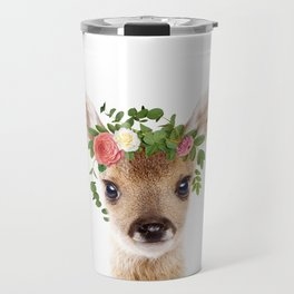 Baby Deer With Flower Crown, Baby Animals Art Print By Synplus Travel Mug