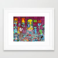 hey arnold Framed Art Prints featuring Hey Arnold Zombie by tonitiger415