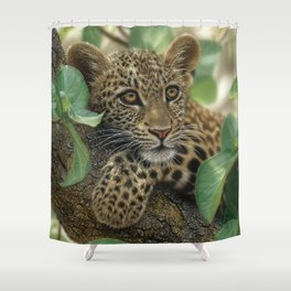 Leopard Cub - Tree Hugger Shower Curtain