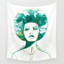 Green Afro Queen Wall Tapestry