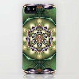Mystery Mandala in Green iPhone Case