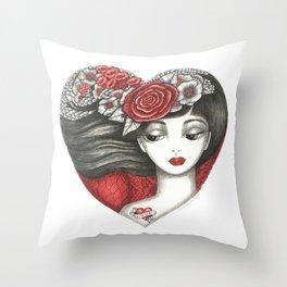 Valentine Girl Throw Pillow