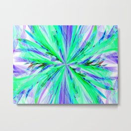 Blue/Green Feathery Abstract Metal Print