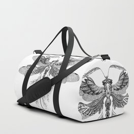 Dragon Fly Tattoo Black and White Duffle Bag