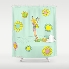 Surf Art Hang 10 Lady Slide Flower Power by Surfy Birdy Shower Curtain
