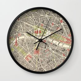 Paris, France City Map Vintage Poster, Eiffel Tower, Notre-Dame, Champs-Elysees, Arc de Triomphe, Latin Quarter Wall Clock