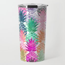 Bright exotic pineapples pastel watercolor pattern Travel Mug