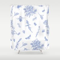 insects Shower Curtains featuring Insects & Flowers by Sollefe