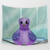 pigeon Wall Tapestries featuring City Pigeon by Alannah Brid