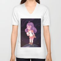 bee and puppycat V-neck T-shirts featuring Bee and Puppycat by Steph Harrison
