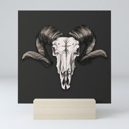 Ram Skull with Runes Mini Art Print