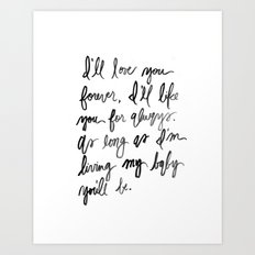I'll love you forever - Black and White Watercolor Art Print