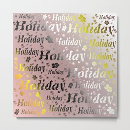shiny font happy holidays in rose gold Metal Print